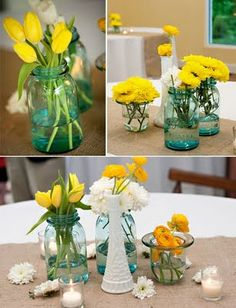 blue mason jars with simple yellow flowers