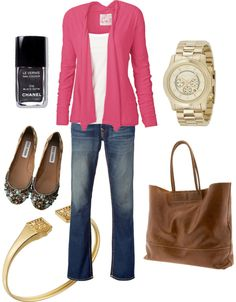 """""""Rosey"""" by waldorfprouts on Polyvore - pink, white, jeans, gold & brown accents"""