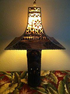 Tapa tiki lamps tropical lighting by FlyingShakaDesigns on Etsy