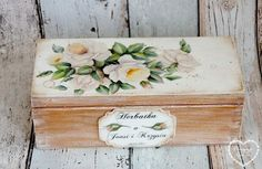WOODEN TEA BOX WITH NAMES AND THE WEDDING DATE  Thank you for visiting our Etsy Shop :)  Dimension: 9,5cm x 8cm x 23cm  Lovely romantic tea box painted with chalky paint and finished with velvet varnish. It has thre compartments- perfect for tea in tea-bags or for loose leaf tea. Inside it is painted with natural wood stain with no varnish. 100% handmade - decorate with shabby chic technique. Great gift for the young couple. In front of the box I can put any decsribtion you want :)  00%…