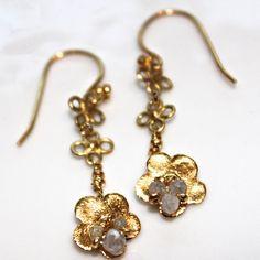 Upcycled Real Diamond Rondelle 14k Gold Vermeil Flower Dangle Earrings