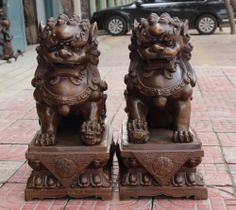 "23"" Chinese Bronze Fengshui Guardian FOO FU DOG Phylactery Door Lion Pair Statue 