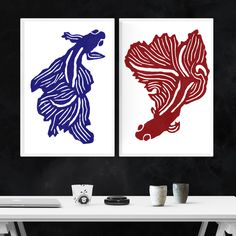Two stunning wall posters for hanging and framing, made up of a betta, Siamese fighting fish in both, creating the illusion of them circling each other in an interesting composition with beautiful colours. Lino Art, Siamese Fighting Fish, Nature Posters, Block Prints, Art Prints, Betta Fish, Poster Wall, Illusions, Colours