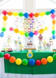 Rainbow-robots-party-ideas