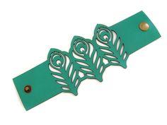Peacock feathers laser cut leather cuff bracelet