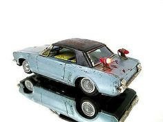 1960's Vintage Bandai Battery Operated Tin Ford Mustang Light Up Toy Car Japan