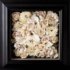 Preserved, framed wedding bouquet