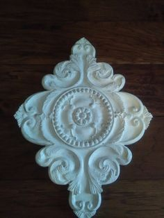 White Architectural Wall Medallion Shabby Chic Wall Plaque