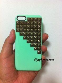 Studded iPhone 4 Case, iPhone 4s Case, Studded Iphone Cases, iPhone Case 4, iphone 5 case, iphone 5 cover Hard Case Cover. $16.99, via Etsy.