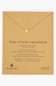 A dainty circular pendant adds subtle symbolism to a glistening chain-link necklace designed to act as an everyday reminder to never stop dreaming.  18 length; 1/8 pendant diameter. Sterling silver or 14k-gold dipped sterling silver. By Dogeared; made in the USA. Item ships in a gift box.