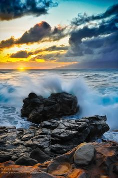 Sunset and crashing surf on the island of Maui, Hawaii. #sunset #Maui #Hawaii