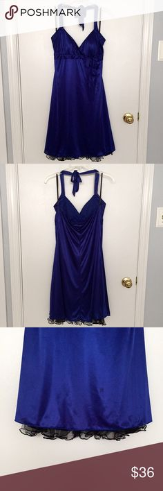Selling this Royal Blue Halter Dress with Black Lace Accent on Poshmark! My username is: beyoutiful43. #shopmycloset #poshmark #fashion #shopping #style #forsale #Iz Byer #Dresses & Skirts