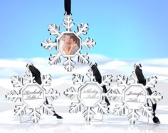 winter wedding favors / place card holders / snowflake ornaments