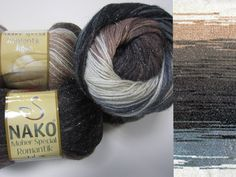 Beautiful yarn with magnificant colour changes. The metallic thread is very delicate and soft to your skin. Needle size 2,5 - 3,0mm.  wool 10% mohair 10% metalica 3% premium acrylic 77% 100G/540M