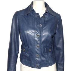 depot vente de luxe en ligne CAROLINE BLISS veste en cuir agneau bleu - On sale eshop luxe www.tendanceshopping.com