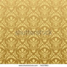 Seamless wallpaper background floral vintage gold vector by Extezy, via ShutterStock