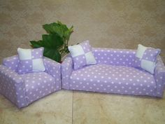 SPRING SALE 20% OFF--Darling Purple and White Polka-Dot Barbie Couch and Chair Set 1:6th Scale