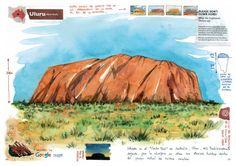 A general view of Uluru, plus several details and impressions. Moleskine Sketchbook, Travel Sketchbook, Sketchbooks, Sketch Journal, Journal Art, Ayers Rock, Urban Sketchers, Watercolor Sketch, Aboriginal Art