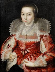 Circle of Paul van Somer (Antwerp 1576-1621 London) Portrait of a girl, half-length, in a pink silk dress and a bejewelled lace collar and headdress, holding a lace handkerchief and an ostrich feather fan