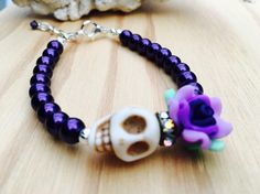 Your place to buy and sell all things handmade Punk Jewelry, Fall Jewelry, Jewelry Crafts, Beaded Jewelry, Handmade Jewelry, Fashion Jewelry, Beaded Bracelets, Skull Earrings, Skull Bracelet