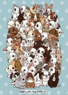 The ultimate bunny poster Cute Baby Bunnies, Funny Bunnies, Cute Kawaii Drawings, Cute Animal Drawings, Bunny Drawing, Bunny Care, Art Anime, Dibujos Cute, Rabbit Art