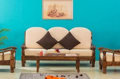 Solid Wood Maharaja Grand Sofa Set - Furniture Online: Buy Wooden Furniture for Every Home Wood Sofa, Solid Wood Furniture, Buy Beds Online, Online Furniture, Furniture Shopping, Furniture Deals, Glass Kitchen Cabinet Doors, Termite Control, Single Sofa