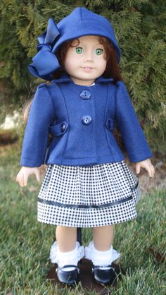 American Girl 1940s Coat in Blue Wool by RuthielovestoSew on Etsy