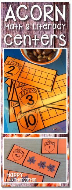 Happy Little Kindergarten: Acorn Counting Math Center Kindergarten Centers, Kindergarten Classroom, Math Centers, Kindergarten Freebies, Math Stations, Classroom Ideas, Fall Preschool, Preschool Math, Fun Math
