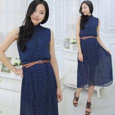 簡約點點排釦雪紡長洋裝#Maxi#Dress