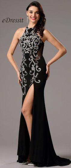 Stunning Halter Neck High Slit Black Prom Gown