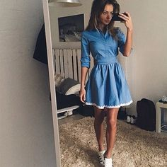 2017 Women Autumn Summer New Fashion Casual Dress Vintage Cute Slim Blue Denim Party Mini Lace Dresses-in Dresses from Women's Clothing & Accessories on Aliexpress.com | Alibaba Group