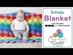 How to Tunisian Crochet: Entrelac Blanket in Rows Left Handed - YouTube