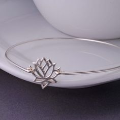 Lotus Flower Jewelry ~ Simple Sterling Silver Lotus Bangle Bracelet by georgiedesigns