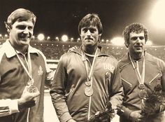 Wolfgang Schmidt East Germany 66.82 Gold Medal@Markku Tuokko Finland 64.90 Silver Medal (left)@Imrich Bugar Czechoslovakia 64.66 Bronze Medal (right)@3.9.1978 Discus Throw, East Germany, European Championships, Schmidt, Finland, Athlete, Bronze, Silver, Gold