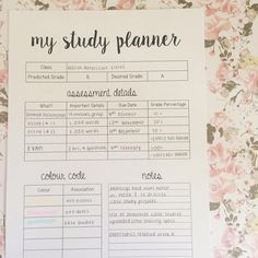this is page one of my five page study planner printable! can be downloaded from my blog, link in bio! #theorganisedstudent