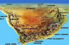 Topographic Map of South Africa