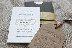 Simple letterpress wedding invitations