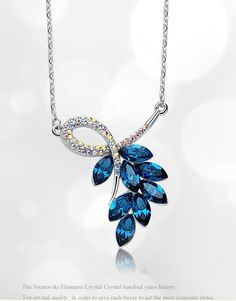 Swarovski Elements Blue Crystal Necklace Female Collarbone