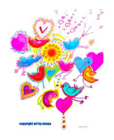 This print entitled Love Birds is happy, whimsical, colorful and cheerful. The bottom heart has the words I Love You within it. This is a nice gift for someone you care about.  The words Copyright - Art by Nonya that appear on this picture will NOT be seen on the print you receive. This will be matted with a white beveled mat and will fit frame size 11 X 14 inches. It will be packaged in a clear see-through sleeve and will be shipped in a secure envelope with protective backing on both…