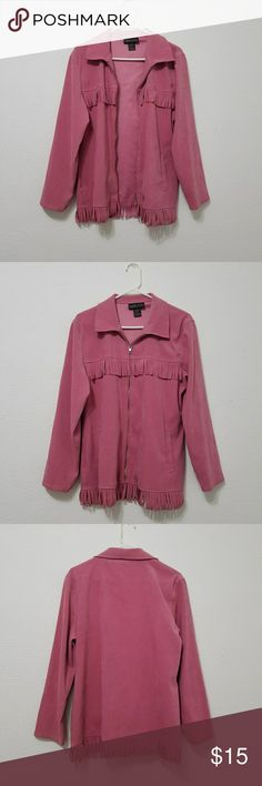 Pink Fringe Jacket Pink jacket with fringe on the front and bottom. Front zipper enclosure. 97% polyester & 3% spandex robert louis Jackets & Coats