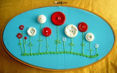 Embroidery button flowers