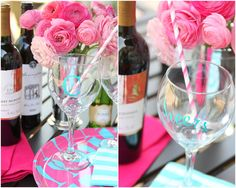 How to make monogrammed + personalized wine glasses!  Love the color combo!  #Pizzazzarie great idea!