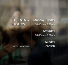Business Opening Times Hours Sign Sticker Window Door Vinyl Decal Business hours decal sign Opening hours Design A by MoosePrintery on Etsy Shop Signage, Signage Design, Cafe Design, Cafe Signage, Restaurant Signage, Restaurant Owner, Design Shop, Cafe Window, Window Signage