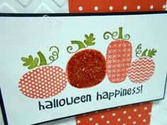 Check out the glitter on this cute pumpkin on the Halloween Happiness stamp!