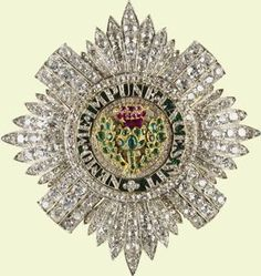 Star of the Order of the Thistle.  Diamonds, Emeralds and Rubes , Commissioned by Queen Victoria,  c1838