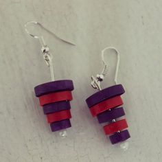Check out this item in my Etsy shop https://www.etsy.com/listing/231039370/simple-earrings-made-from-red-and-purple