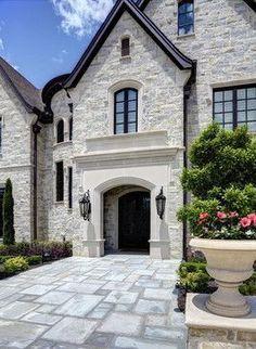 54 Ideas House Exterior Stone And Siding Porches Stone Exterior Houses, Dream House Exterior, Exterior House Colors, Stone Houses, Modern Exterior, Exterior Design, Wall Exterior, Stone Home Exteriors, Black Windows Exterior