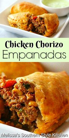Whether it's gameday or holiday snacking these kicked-up Tex-Mex Chicken and Chorizo Empanadas will disappear in no time flat #empananadas #chicken #easychickenrecipes #texmex #puffpastry #chorizoempanadas #appetizers #gamedaysnacks #handpies #chickenchorizoempananadas Beef Recipes For Dinner, Easy Chicken Recipes, Meat Recipes, Mexican Food Recipes, Recipies, My Favorite Food, Favorite Recipes, Empanadas Recipe, Island Food