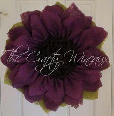 Extra Large Purple Burlap Flower, Burlap Sunflower Wreath, Spring Wreath, Summer Wreath, Housewarming Gift, Customizable Wreath - pinned by pin4etsy.com