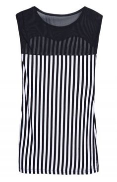 Black White Vertical Stripe Contrast Mesh Yoke Blouse pictures